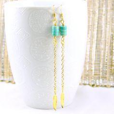 Minimalist Turquoise Charm Earrings Light Blue by JewelrybyMcV