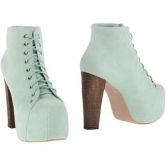 Jeffrey Campbell Ankle Boots featuring polyvore, fashion, shoes, boots, ankle booties, light green, bootie boots, leather bootie, rubber sole boots, leather ankle boots and short boots