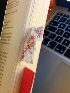 washi tape page tabs. Why didn't I think of this??! Martha Stewart just lost her best customer.