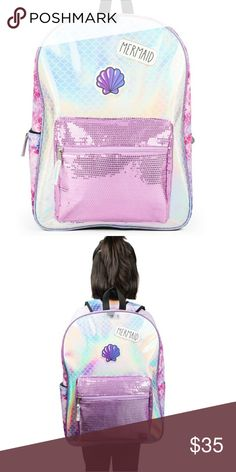 595b60d61fd1 Mermaid Sequin Holographic Backpack School Kids New with tags. Reflective  holo print back with sequin