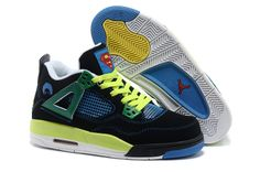 Air jordan 4 black yellow blue women shoes
