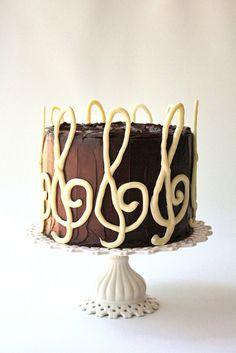 white chocolate piped into treble clef's :) Chocolate Marble Cake, Melting White Chocolate, Violin Cake, Doctor Cake, Music Cakes, Cake Decorating, Decorating Ideas, Theme Cakes, Chocolate Decorations
