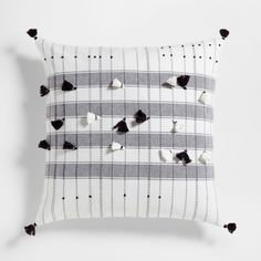 Embroidered tassels cushion cover