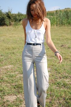 White tank and high linen trousers. Spring fashion. Seventies to the maxx | Women's Look | ASOS #Fashion Finder