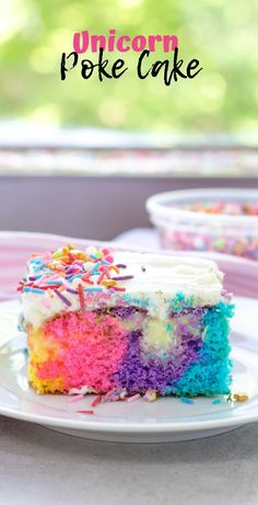 Unicorn Poke Cake is a fun rainbow cake made from a box cake mix, vanilla pudding and a whipped cream frosting topped with colorful sprinkles that makes my inner unicorn completely delighted! Poke Cakes, Poke Cake Recipes, Cupcake Recipes, Cupcake Cakes, Dessert Recipes, Cupcakes, Mini Cakes, Recipes Dinner, Pasta Recipes