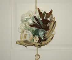 Driftwood, oyster shells, sea glass and rusty metal pieces chime. All the materials has been collected on the shores of beaches in Southern Ireland. Southern Ireland, Artwork For Home, Oyster Shells, Rusty Metal, Coastal Decor, Driftwood, Sea Glass, Beaches, Decorative Bowls