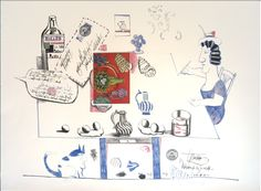 View The Matisse Post Card By Saul Steinberg; Color lithograph and collage on Arches; Access more artwork lots and estimated & realized auction prices on MutualArt. Illustrators, Matisse, Illustration, Postcard, Saul, Watercolor Drawing, Creative Drawing, Cartoon, Saul Steinberg