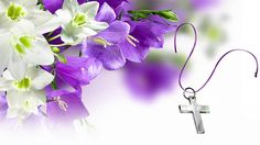 Easter email stationery (stationary): Beautiful Easter Flowers & The Cross