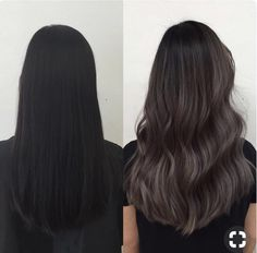 Getting bored with hair & has questions! i want to dye my hair and have ashy tones to it like in the picture. But curious to know if i have to bleach my hair in order to get to this? i hate bleaching my hair but love this ashy/gray color Hair Color For Black Hair, Brown Hair Colors, Dark Hair, Ombre On Black Hair, Black And Silver Hair, Ash Gray Hair Color, Hair Color Asian, Long Wavy Hair, Ashy Hair