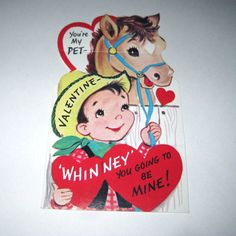 Vintage Large Novelty Valentine Greeting Card with Cowboy and Horse. via Etsy.