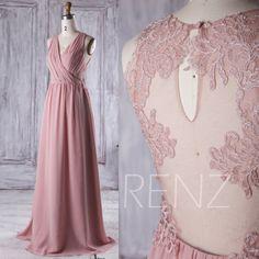 2016 Mauve Bridesmaid Dress Long, Ruched V Neck Wedding Dress, Lace Back Prom Dress, Maxi Dress, Chiffon Evening Dress Floor (L092B)