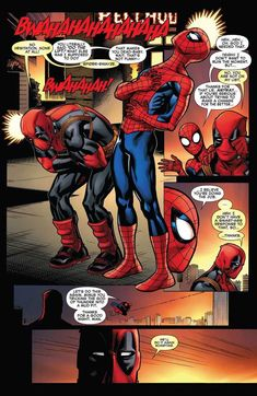 This was the punishment of Spider-man and Deadpool for trying to pull this stunt. From – Spider-Man – Deadpool Deadpool X Spiderman, Deadpool Funny, Marvel Comic Universe, Marvel Dc Comics, Marvel Heroes, Marvel Jokes, Marvel Funny, Funny Comics, Spideypool Comic