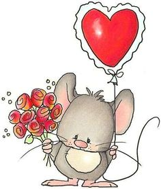 Happy Valentine's Day to all the fabulous contributors to this board. You are all immensely appreciated! Cute Images, Cute Pictures, Animal Drawings, Cute Drawings, Cute Mouse, Cute Clipart, Penny Black, Illustrations, Whimsical Art