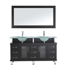 """Found it at Wayfair - Rocco 61"""" Double Bathroom Vanity Set with Frosted Tempered Glass Top and Mirror"""