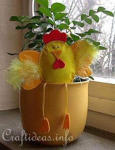 DIY Whimsical Chick Pot Sitter