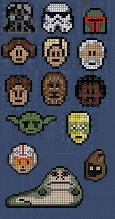 Star wars cross stitch or perler beads charts. Could even be used as a knit chart. Cross Stitching, Cross Stitch Embroidery, Cross Stitch Patterns, Pearler Bead Patterns, Perler Patterns, Perler Beads, Perle Hama Star Wars, Beading Patterns, Embroidery Patterns