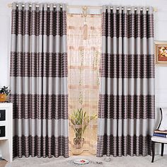(Two Panels) Geometic Grey Print Blackout Curtains – USD $ 84.99