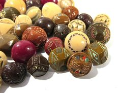 VINTAGE Brown Glass Buttons Diminutive Buttons 61 by punksrus