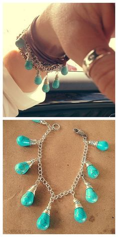 DIY Beginner Wire Wrapped Bead Bracelet Tutorial from Wobisobi... http://wobisobi.blogspot.com.au/2013/08/turquoise-teardrop-bead-bracelet-diy.html