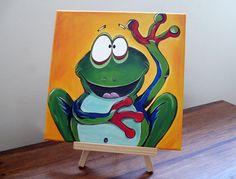 Green+Tree+Frog+Graham+Original+&+Cute+Painting+by+FreaksOnCanvas,+€55.00