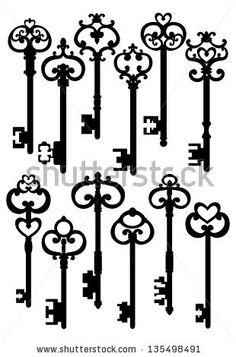 Old Keys, Silhouettes Set, Raster Version Stock Photo 135498491 ...