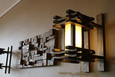 Wood Wall Lamp (Sconce), Style Influence: (Prairie Style, Stickley, 19th Century Engish Arts & Crafts)