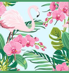 Pink orchid flamingo tropical leaves pattern blue vector image on VectorStock Palm Tree Tattoo Ankle, Pine Tree Tattoo, Christmas Tree Quotes, Pink Flamingos Birds, Flamingo Bird, Tropical Frames, Tree Wallpaper Iphone, Family Tree Poster, Jungle Tree