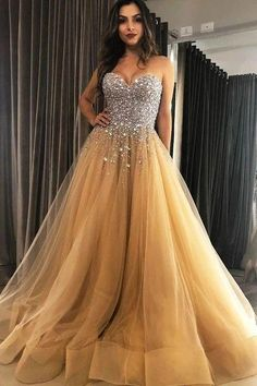 Customized service and Rush order are available. A Line Sweetheart Neck Beaded Champagne Long Prom Dresses, Champagne Formal Dresses, Evening Dresses Champagne Formal Dresses, Winter Formal Dresses, Gold Prom Dresses, Tulle Prom Dress, Pageant Dresses, Quinceanera Dresses, Dance Dresses, Evening Dresses, Dress Winter