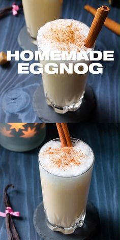 Homemade Eggnog Recipe - The best eggnog, spiked with booze made for adults this Christmas holiday season. Creamy homemade DIY cold or hot drink for your celebration with your family and friends. Christmas Drinks, Holiday Drinks, Christmas Holidays, Christmas Glitter, Merry Christmas, How To Make Eggnog, Ponche Navideno, Eggnog Drinks, Spiked Eggnog