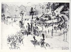 Felix Topolski Pastel, Gravure, Drawings, Sketching, Illustration, Inspirational, London, Dibujo, Sketch Drawing