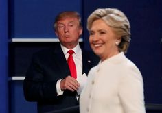 After not getting anywhere near each other the entire third and final debate on October 19, Clinton crosses the stage smiling as Trump remains at his lectern until she exits.