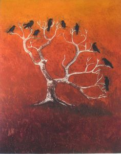 "Crow Tree .... by Hester Cox. Collagraph & relief print, (edition of 35), 11 3/4"" x 15"", £140"