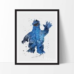 Cookie Monster Print, Sesame Street Watercolor Art, Nursery Art Print, Kids Bedroom Decor, Baby Room Wall Art Poster, Not Framed, No. 287