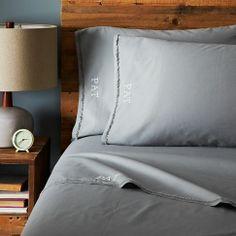 Organic Cotton Frayed-Edge Sheet Set - Feather Gray   west elm