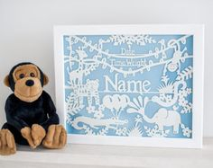 Are you looking for a gift for the King of the Swingers? Then look no further This new baby or birthday gift personalised papercut template is perfect. #newborn #baby #christening #nursery #babyshower #gift #birthday #boy #girl #jungle #tiger #elephant #snake #crocodile #giraffe #monkey #personalised #date #weight #name #template #diy #papercutting #papercut #paper #papercraft #commercial Jungle Newborn Commercial Papercut by papercutperfection on Etsy