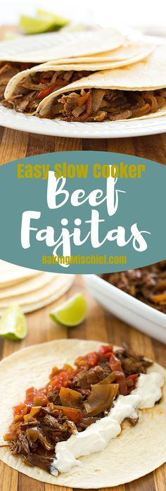 Easy slow cooker beef fajitas are a fantastic, cheap, and simple dinner for two for busy weeknights! Recipe includes nutritional information. From http://BakingMischief.com