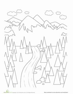landscape coloring page - Mountain Landscape Coloring Pages