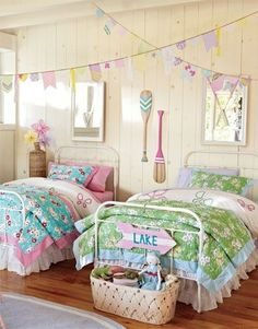 lake house decor. I love the colors and the banners!