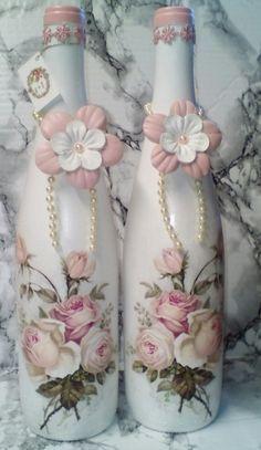 Garrafa decorada com rosas | Artes da Zazá | Elo7
