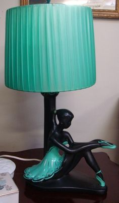 Barsony Black Lady in Aqua. Beautiful Vintage Electric Table Lamp and Shade.