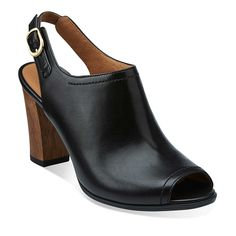 Shira Brenna in Black Leather - Womens Sandals from Clarks