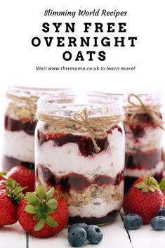 Click through for this easy Slimming World Syn Free Overnight Oat's Recipe Slimming World Breakfasts Free, Slimming World Pancakes, Baked Oats Slimming World, Slimming World Puddings, Slimming World Vegetarian Recipes, Slimming World Cake, Slimming World Desserts, Slimming World Overnight Oats, Slimming Recipes