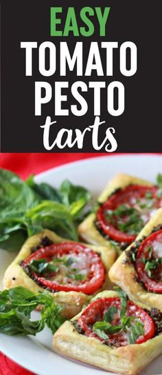 Easy Tomato Pesto Tarts (with optional prosciutto) - A one-dish-two-ways appetizer recipe for vegetarians AND meat-eaters. Festive tarts with garlicky pesto, tangy tomato slices, and melty Parmesan atop buttery golden puff pastry squares. Vegetarian; but you can add salty prosciutto to individual tarts for the meat-eaters!