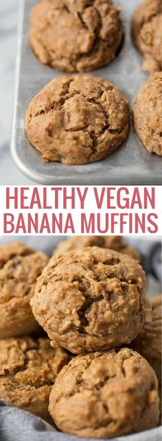Healthy Vegan Banana Muffins! Naturally sweetened and packed with bananas, pecans, wheat germ and whole-grain flours. Perfect for kids and breakfast! #healthy #breakfast #muffins #snack #healthysnack #healthybreakfast #naturallysweetened #vegan | www.delishknowledge.com