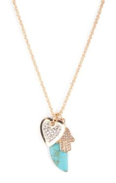 Deb Shops Long #necklace with Heart, Stone and Feather Pendant $6.75