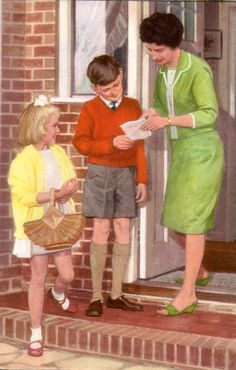 """Peter and Jane's mummy has run out of Valium. She asks Peter and Jane to buy some at the chemist's. Peter is checking her prescription. (Ladybird Books: """"Mummy Just Can't Cope"""", 1964)."""