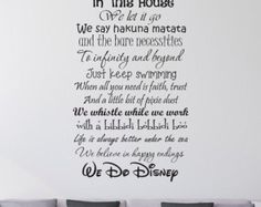 Trend In this House We do Disney Wall Decal Disney Wall Quotes Wall Vinyl Decal