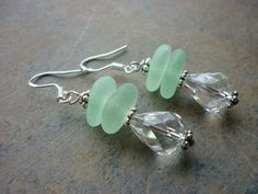 Sea Glass Earrings Sea Foam Sterling by TheMysticMermaid on Etsy, $25.00