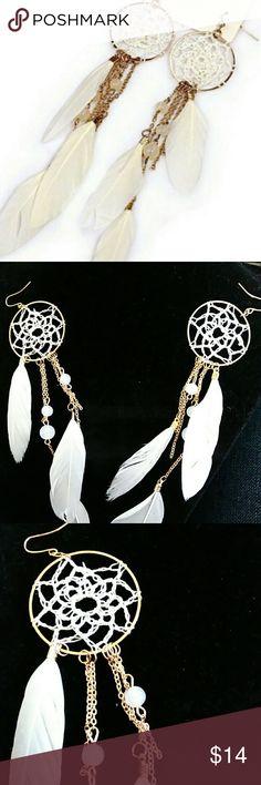 """Bohemian dream catcher earrings beautifuI white & gold dream catcher earrings 6 and a half """" long including feathers Jewelry Earrings"""