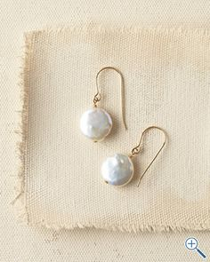 """in2 design Coin Pearl Earrings  50.00 - coin-shaped freshwater pearls, 14k gold-filled French wires. 1/2""""W pearl; 1"""" drop"""